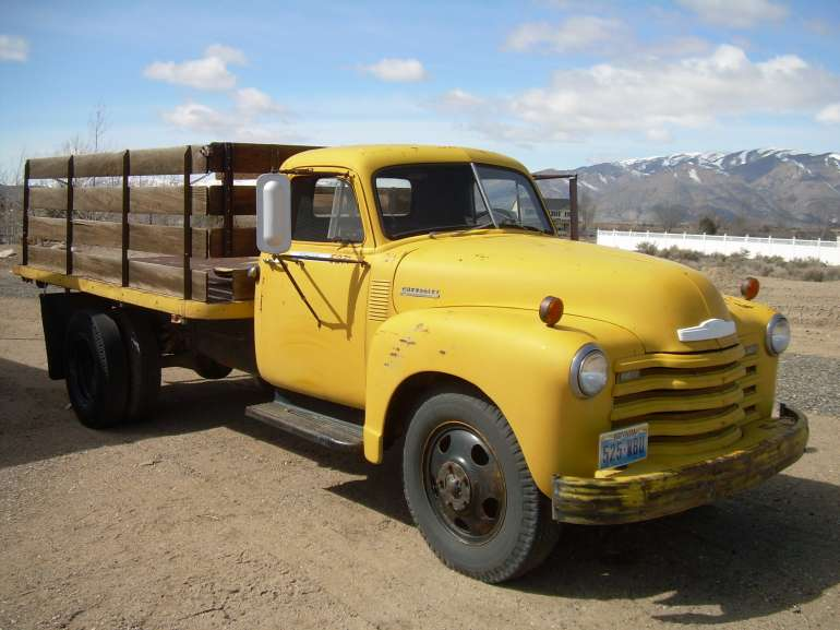 Front Right Yellow 1952 Chevrolet Stake Truck Picture