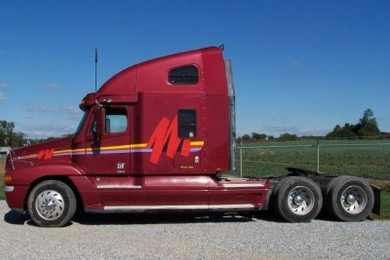Left Side Maroon 1998 Freightliner Century Truck Picture