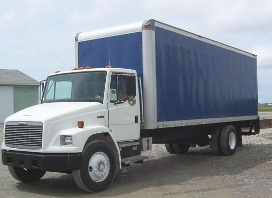 Front Left White and Blue 1998 Freightliner FL Truck Picture