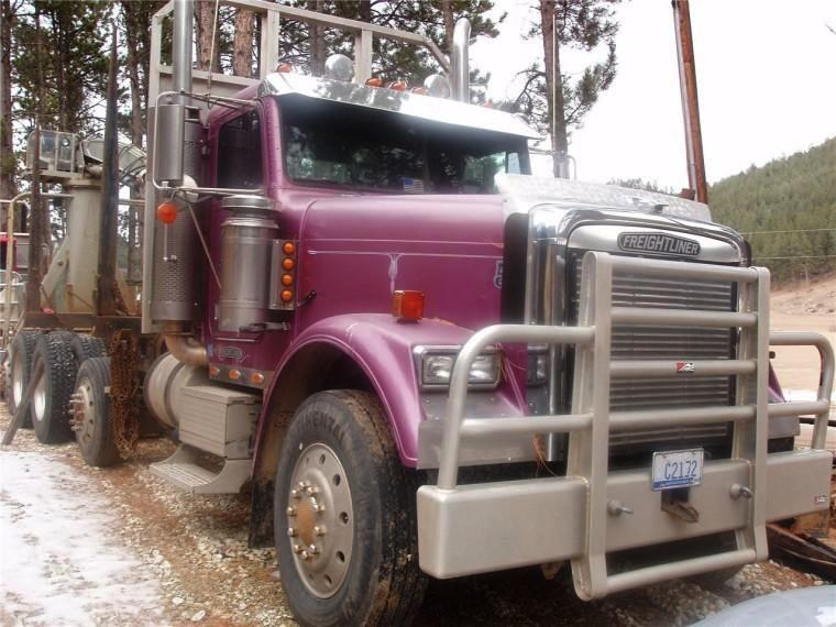 Front Right Maroon 1994 Freightliner FLD Truck Picture