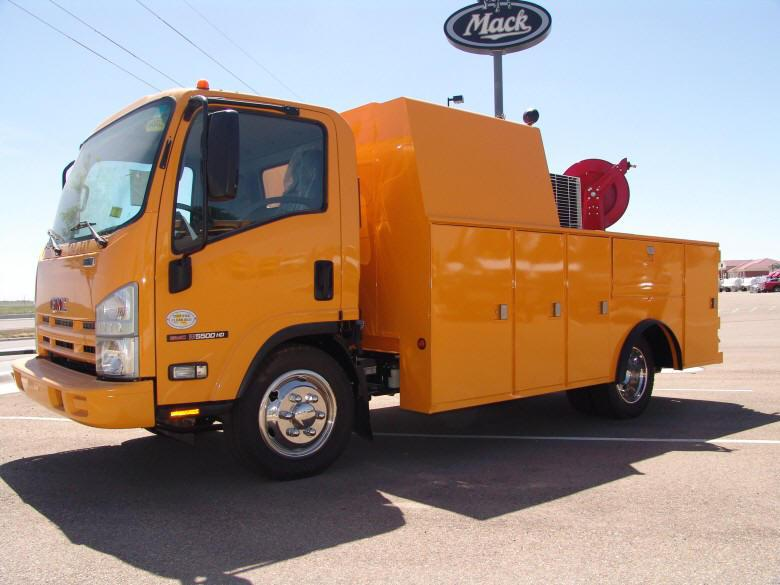 Front Left Orange 2009 GMC NRR Truck Picture