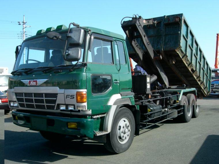 Front Left Green 1990 Hino Dump Arm Roll Truck Picture