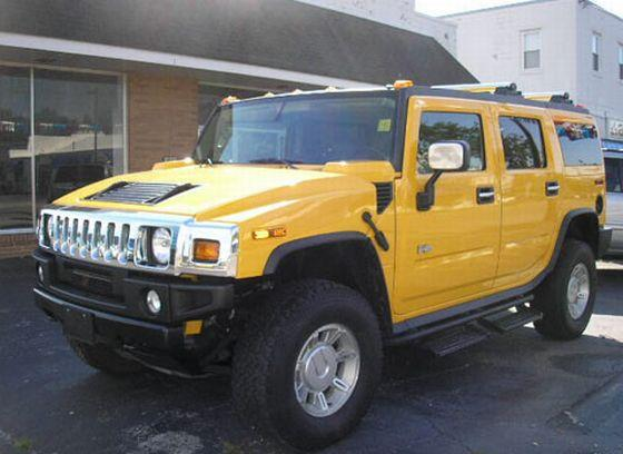 Front Left Yellow 2004 Hummer H2 Truck Picture
