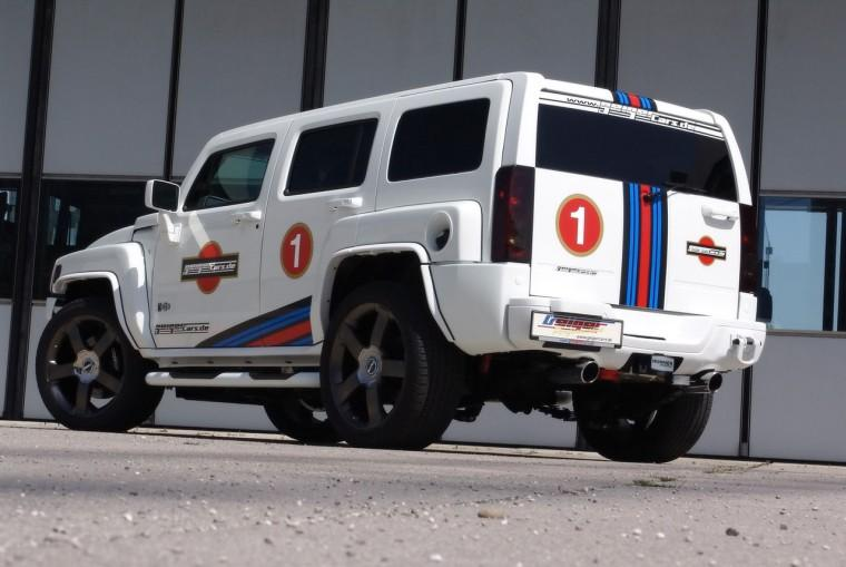 Rear Left White 2009 Geiger Cars Hummer H3 Truck Picture