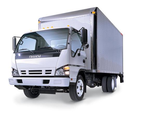 Front Left White Isuzu Delivery Truck Picture