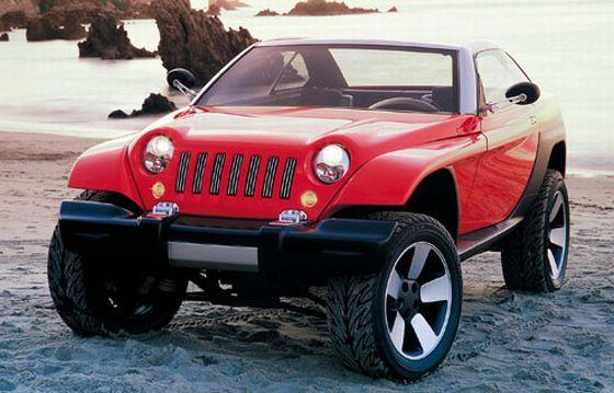 Front Left Red Jeep Jeepster Concept Car Picture