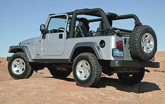 Rear Left Gray Jeep Wrangler Truck Picture