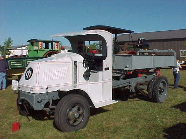 Front Left White 1918 Mack Model AC Dump Truck Picture