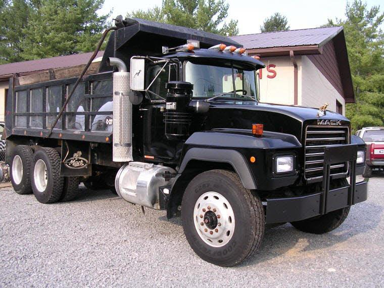 Front Right Black 1995 Mack RD688 Dump Truck Picture