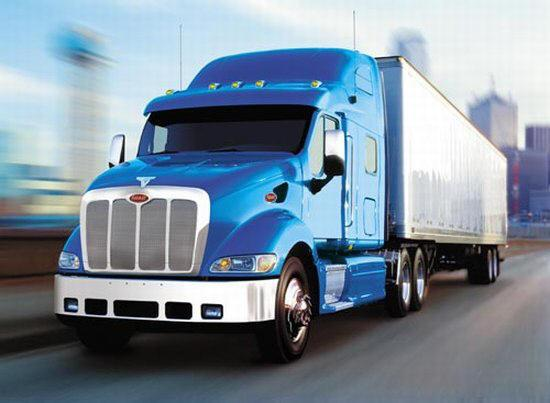 Front left blue Peterbilt Model 377 Truck Picture