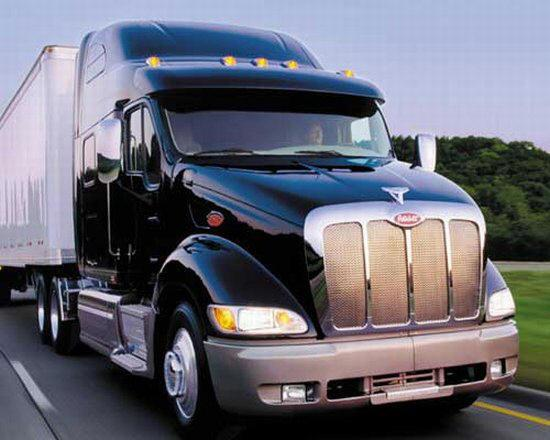 Front right blue Peterbilt Model 377 Truck Picture