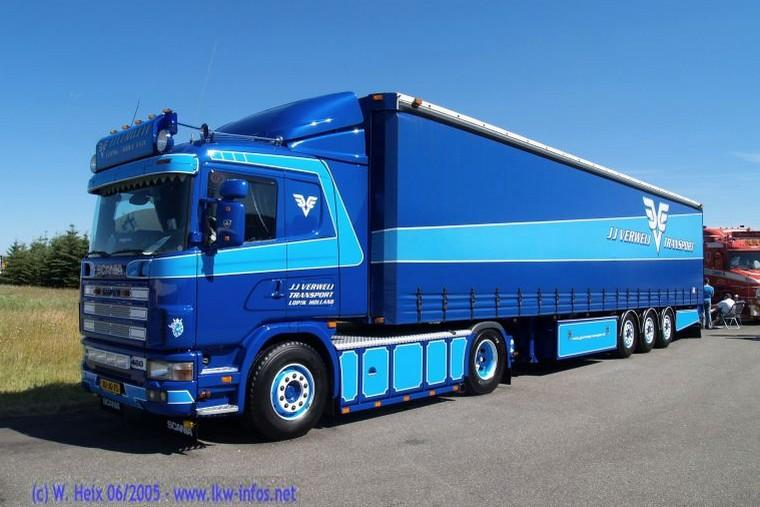 Front Left Scania 144L Blue Transport Truck Picture