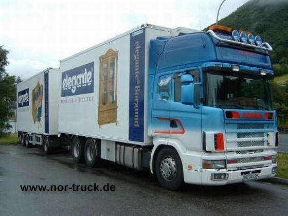 Front right blue Scania 114TL Road Train Truck Picture
