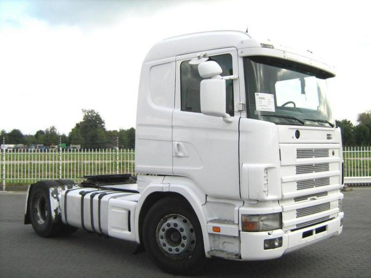 Front Right White 1997 Scania R114L Truck Picture