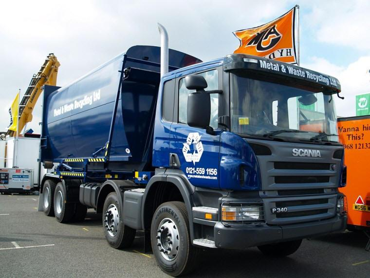 Front Right Blue Scania P340 Refuse Truck Picture