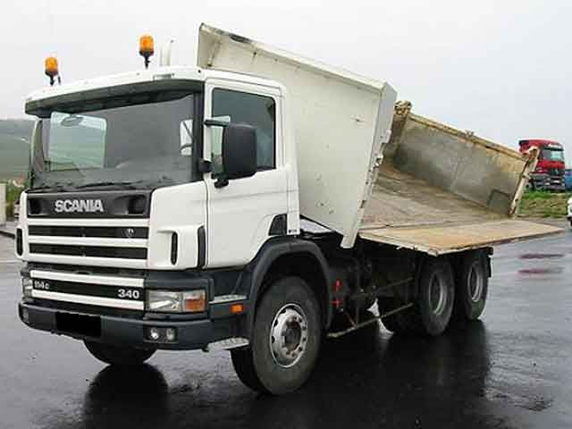 Front left white Scania 114C Side Dumper Truck Picture