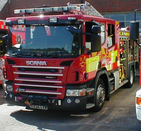 Front Left Red Scania P270 Fire Engine Truck Picture