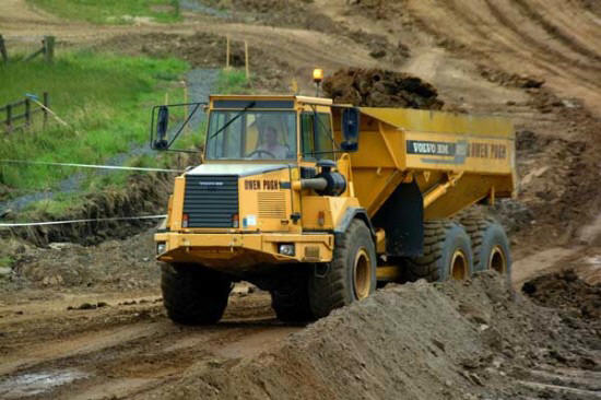 Front left yellow Volvo Dumper Truck Picture